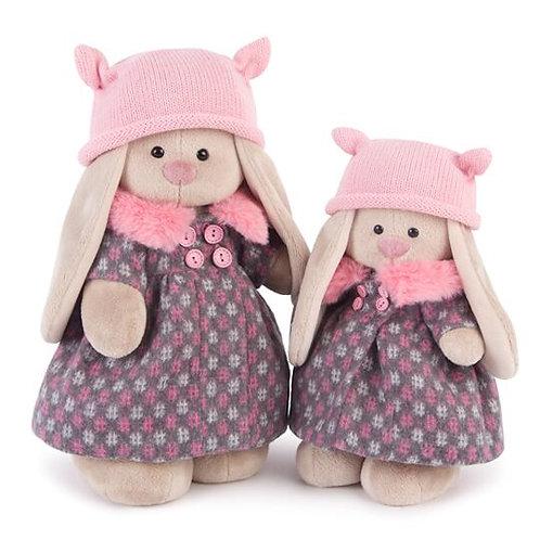 Зайка Ми в пальто и розовой шапке (большой) 32 см.