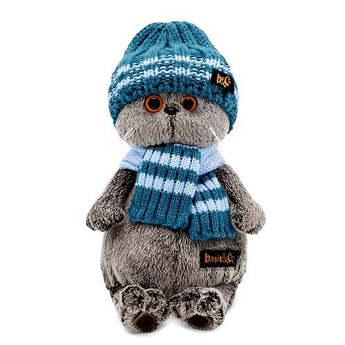 Басик в голубой вязаной шапке, 30 см.