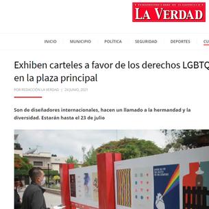 Exhiben carteles a favor de los derechos LGBTQ+