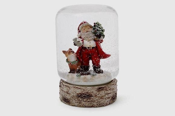Шар снежный Дед Мороз с лисой, 7 см.