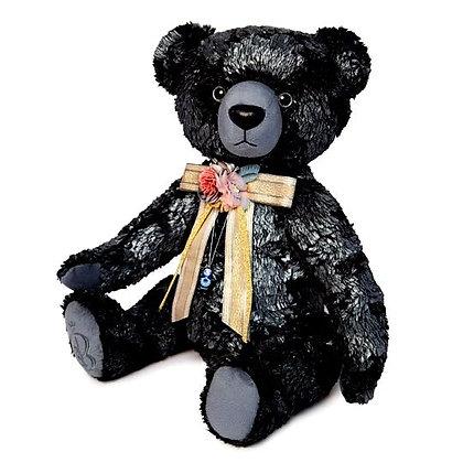 Медведь БернАрт 34 см., серебряный металик