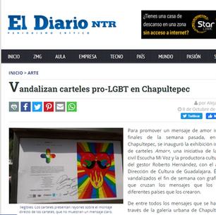 Vandalizan carteles pro-LGBT en Chapultepec
