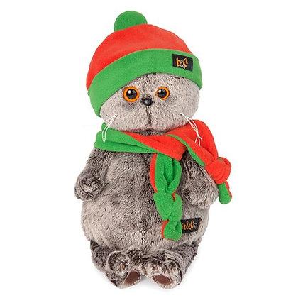 Басик в оранжево-зеленой шапке и шарфе 30 см.