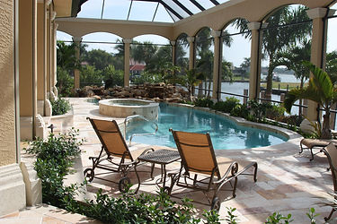 Pool home with hot tube on the water