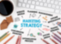 Marketing Strategy sign showing Website design, social media and SEO