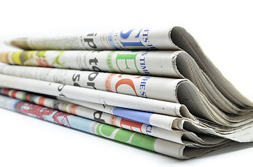 Stack of newspapers for print advertising and marketing