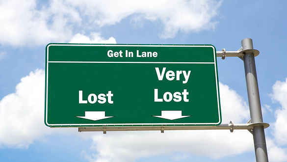 Street Sign showing lost and Very lost