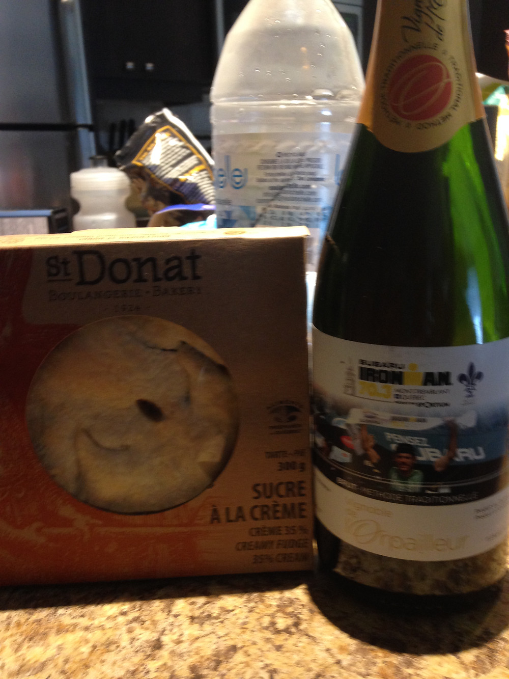 Pre race spoils for the pros. The wine label features last year's winner.