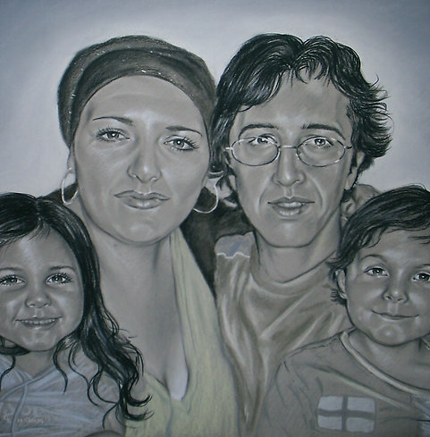 4 pets or people Portrait Gray Pastel on Paper Commission