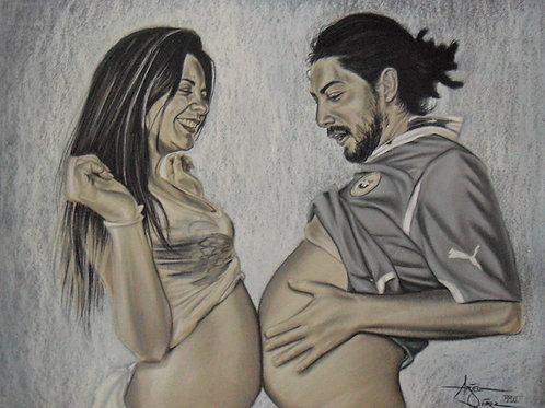 Gray Pastel on Paper Commission Couple Portrait