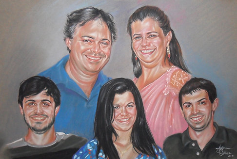 Commission 5 people Family or Group Portrait Oil on Canvas
