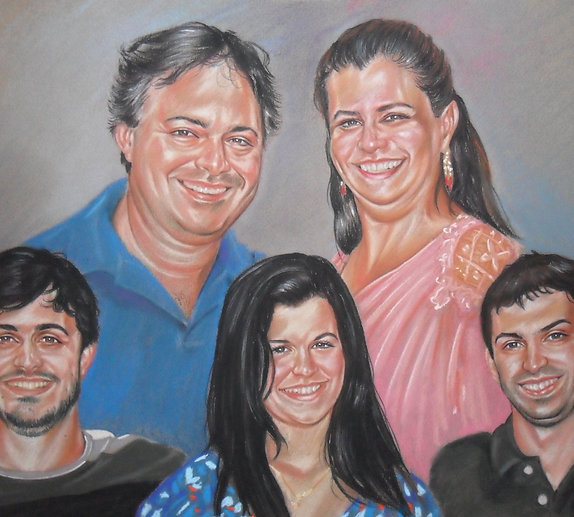 "18""x24"" 5 and more pets or people Portrait Color Pastel on Paper Commission"