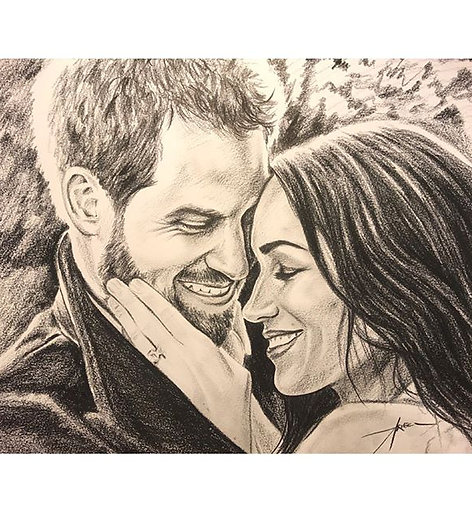 Charcoal Sketch on Paper Commission Couple Portrait