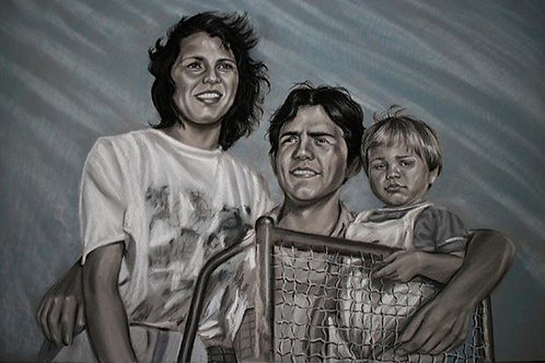 3 pets or people Portrait Gray Pastel on Paper Commission