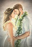 Hawaiian kiss wedding pastel drawing on