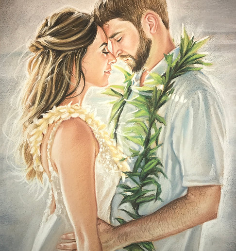 Color Pastel on Paper Commission Couple Portrait