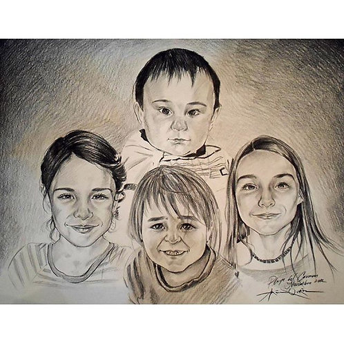 4 pets or people Portrait Charcoal Sketch on Paper Commission