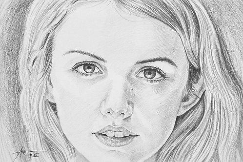 Charcoal Sketch on Paper Commission Single Portrait