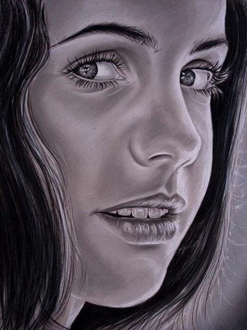 Gray Pastel on Paper Commission Single Portrait