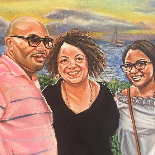 3 pets or people Portrait Color Pastel on Paper Commission