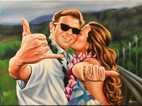 Commission Couple Portrait Oil on Canvas