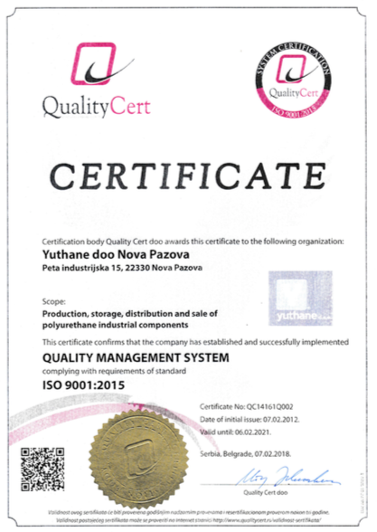 Yuthane ISO 9001 certificate