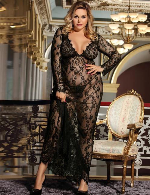Black Eyelash Lace Trimmed Maxi Long Lingerie Dress Gown