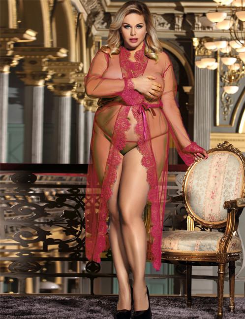 Eyelash Lace Long Maxi Lace Lingerie Gown Dress