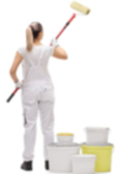 Lady painting wall with long roller_edit