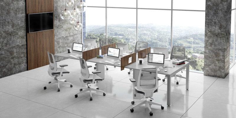 Mesa para Escritório - Plataforma 25mm cinza Avantti