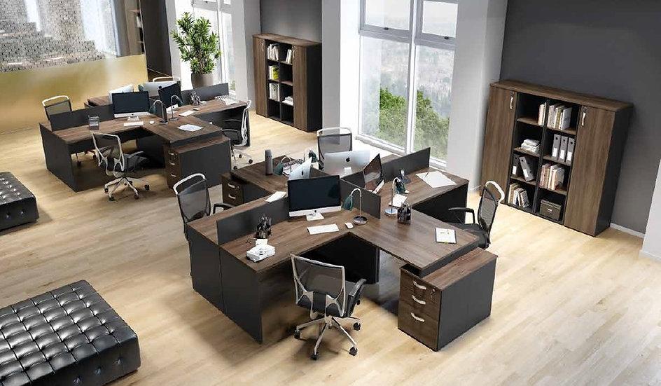Mesa para Escritório - Estação de trabalho 25mm nogal Maranello