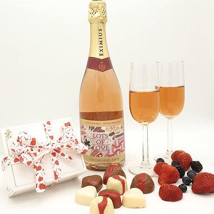 Rose Cava, handgemaakte bonbons en glazen