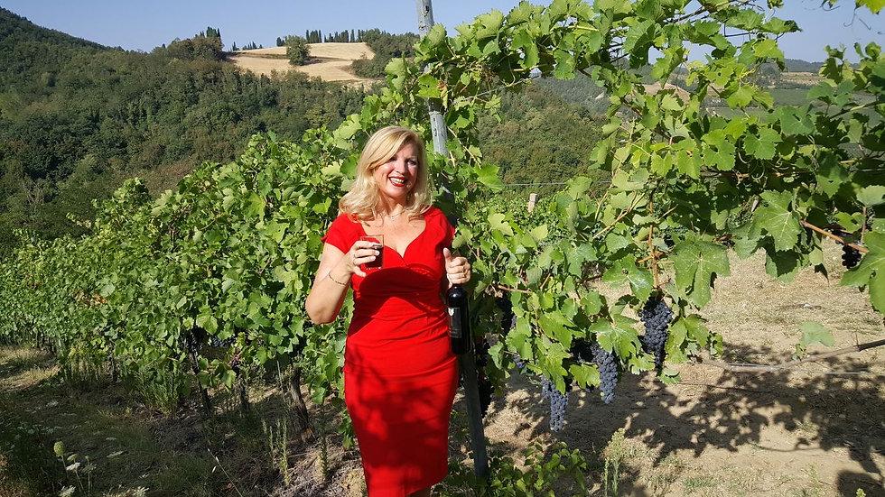 Jacqueline in wijngaard Italie
