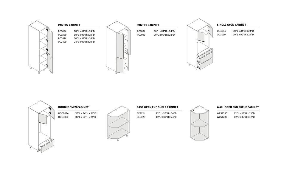 European-Pantry Cabinets & Open End Shel