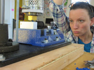 Testing an injection molder in the lab