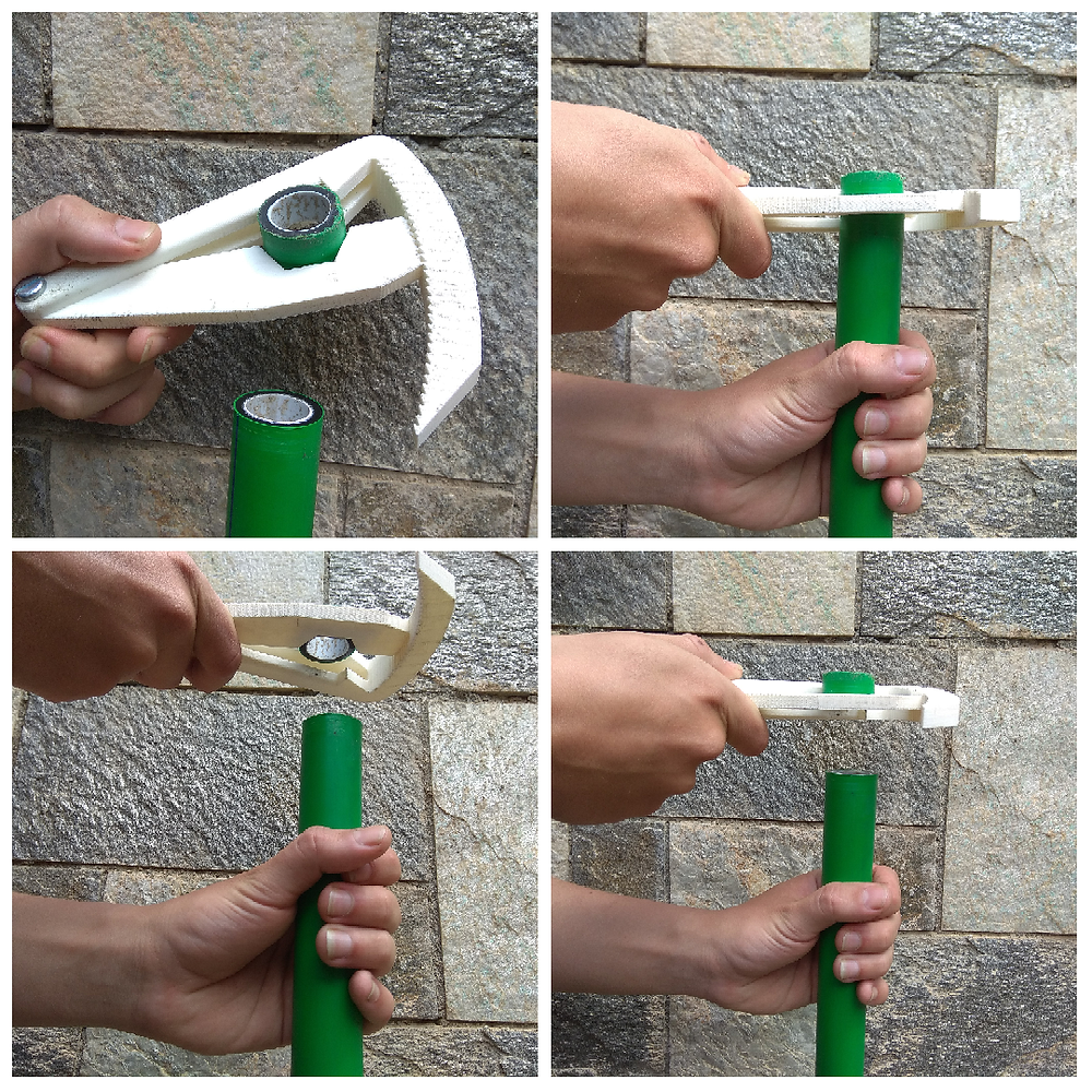 3D printed water pipe cutter — produces excellent results even with large diameter plastic pipes.