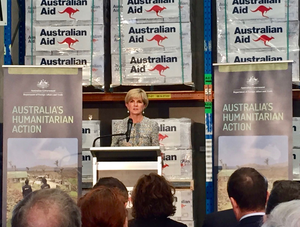 Australias Foreign Minister Hon Julie Bishop announcing the AHP to the crowd