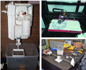 NIC's 3D printed water filter (left) and medical drone thrust test rig (lower right) and CMDN's EEG monitor helmet design being printed (top right)