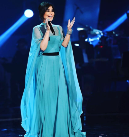 As a judge on The Voice in 2018, Elissa went for a pale green Greek Goddess look in a silk chiffon dress by Alberta Ferretti