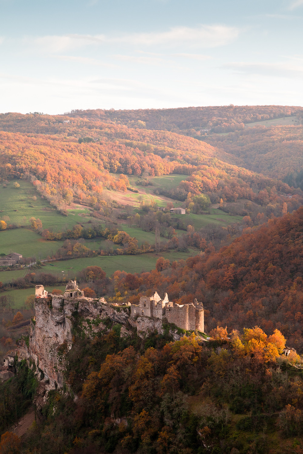 Penne Castle from the air, late October