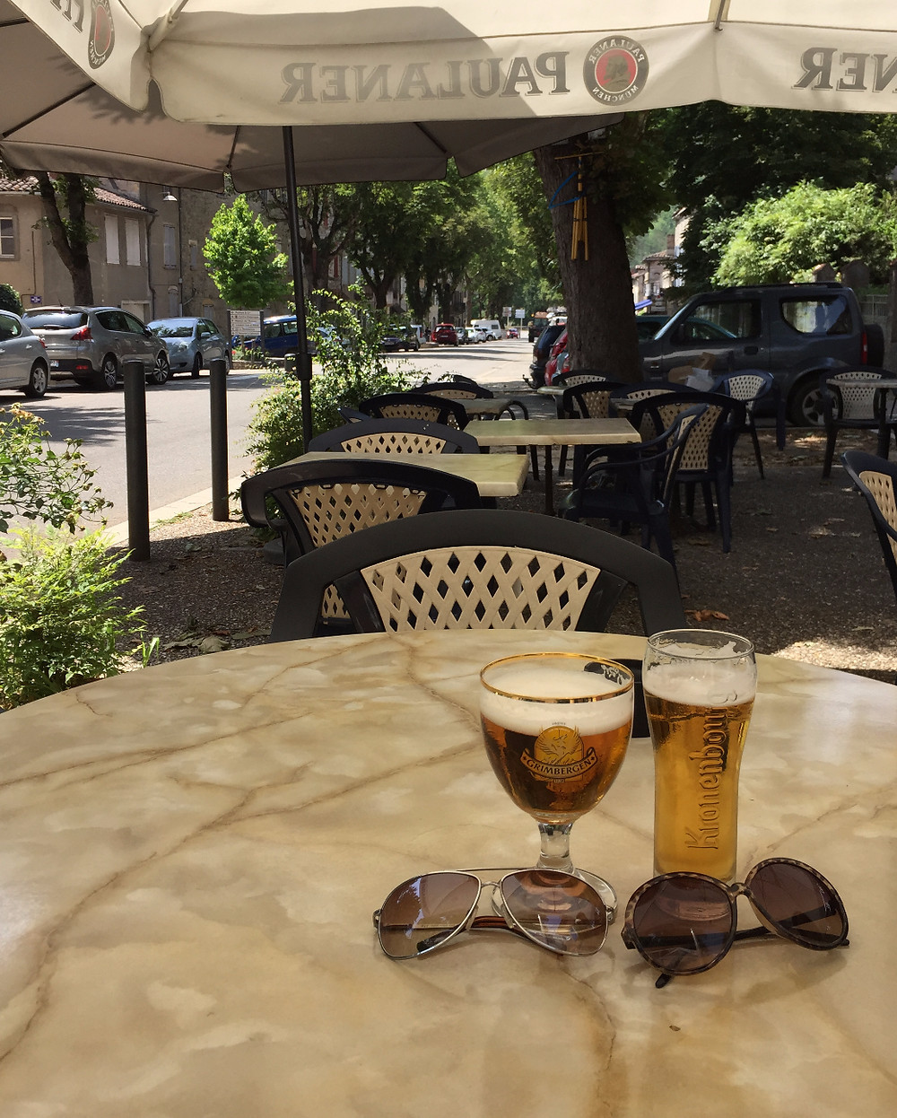 A rare moment of quiet at Gaspacho in Saint Antonin. Usually great for people watching!