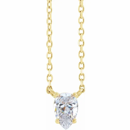 Pear Solitaire Necklace
