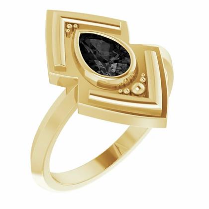 Geometric Black Onyx Ring