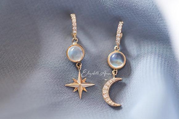 Niki Moonstone and Diamond Dangles