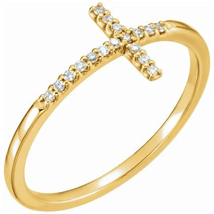Diamond Cross Purity Ring