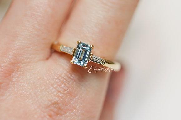 Lucy Aquamarine and Diamond Ring