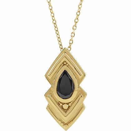 Etruscan Black Onyx Pendant