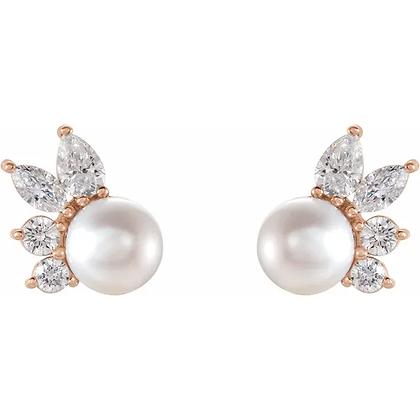 Marina Peal and Diamond Earrings