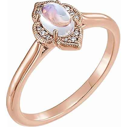Hannah Moonstone & Diamond Ring