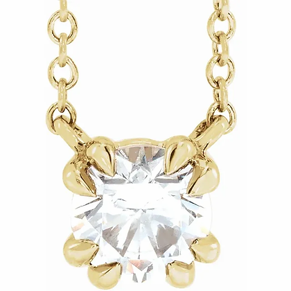 Round Double Claw Solitaire Necklace